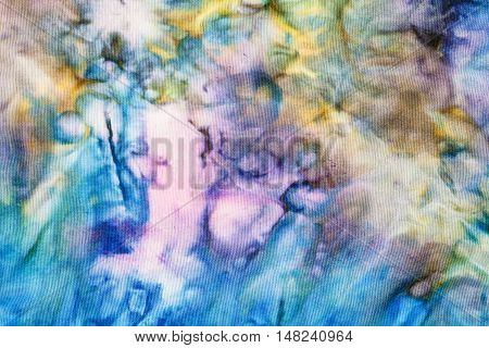 Abstract Colored Silk Knotted Batik