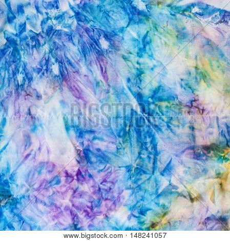 Abstract Blue And Yellow Colored Stitched Batik