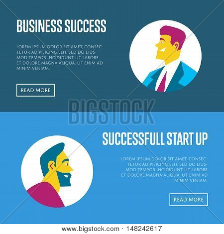 Business start up website templates with businessmen round avatar icons on blue background, vector illustration. Side view of smiling businessmen in flat design. Successful start up concept
