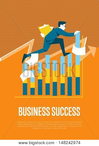 Business success banner with businessman running on graph, isolated vector illustration on orange background. Confident businessman walking up the career stairs.