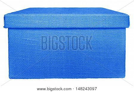 Closed blue box wrapped by burlap canvas isolated on a white background. Clipping path included.