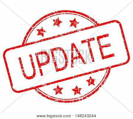 red Update rubber stamp on white background - illustration
