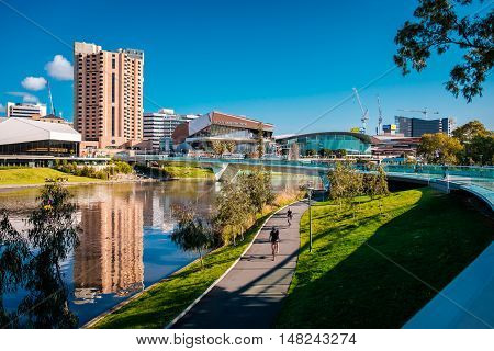 Adelaide Australia - September 11 2016: Foot bridge across the River Torrens in in Elder Park on a bright day