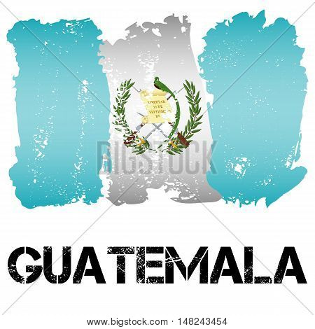 Flag of Guatemala from brush strokes in grunge style isolated on white background. Country in Central Latin America. Vector illustration
