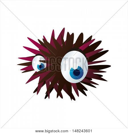 vector cool image of animal. Funny happy sealife creature. Urchin