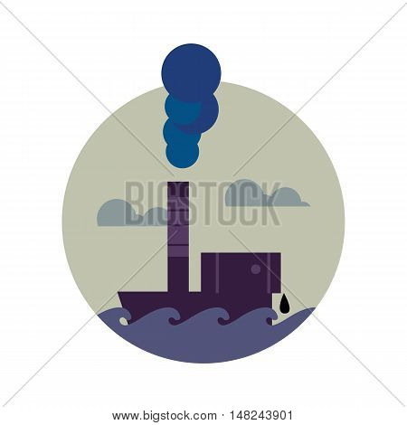Air pollution banner, vector illustration. From pipe factory smoke, polluting the atmosphere. Environmental problems. Smoking factory concept. Heavy industry plant. Toxic smoke icon