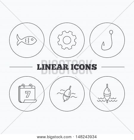 Fishing hook and float icons. Fish linear sign. Flat cogwheel and calendar symbols. Linear icons in circle buttons. Vector