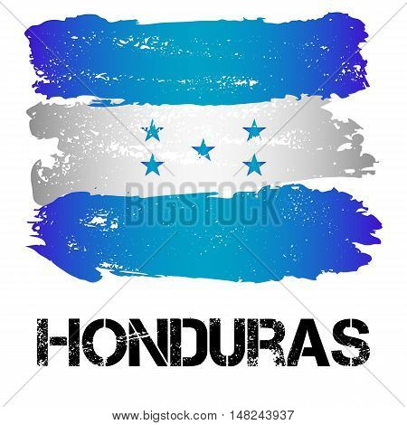 Flag of Honduras from brush strokes in grunge style isolated on white background. Country in Central Latin America. Vector illustration