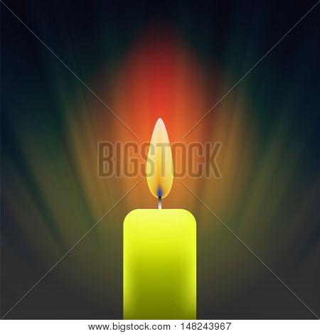 Burning Single Yellow Candle on Dark Wave Background.