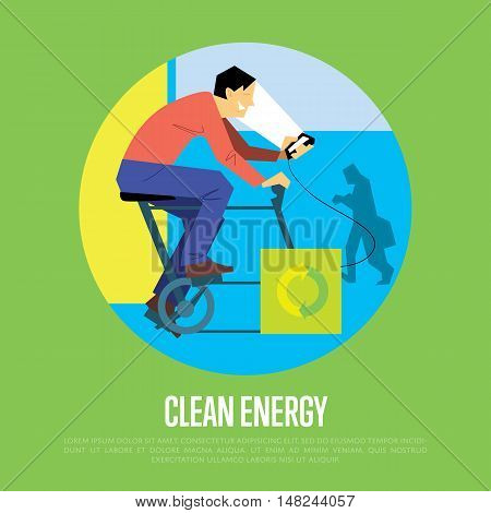 Clean energy round vector illustration. Man on bicycle with dynamo generates power for your smartphone. Charging station. Renewable energy. Eco generation. Alternative technologies