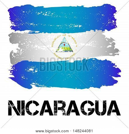 Flag of Nicaragua from brush strokes in grunge style isolated on white background. Country in Central Latin America. Vector illustration