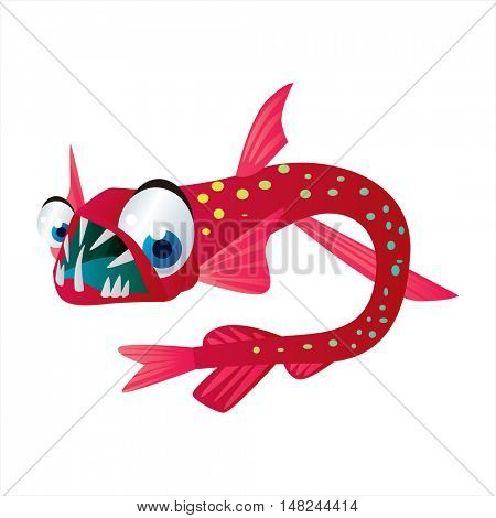 vector cool image of animal. Funny happy sealife creature. Viper fish