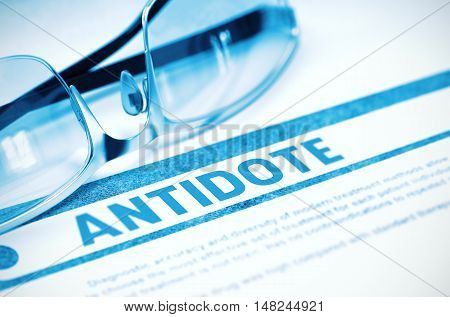 Antidote - Medicine Concept with Blurred Text and Pair of Spectacles on Blue Background. Selective Focus. 3D Rendering.