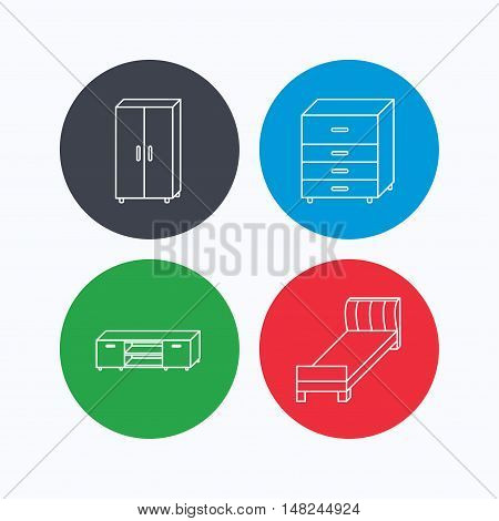 Single bed, TV table and cupboard icons. Chest of drawers linear sign. Linear icons on colored buttons. Flat web symbols. Vector