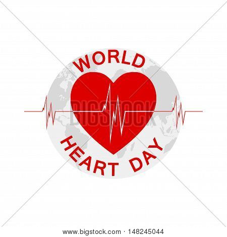 World Heart Day background with heart, heartbeat and Earth. Vector illustration.