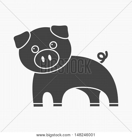 Pig black icon. Illustration for web and mobile.