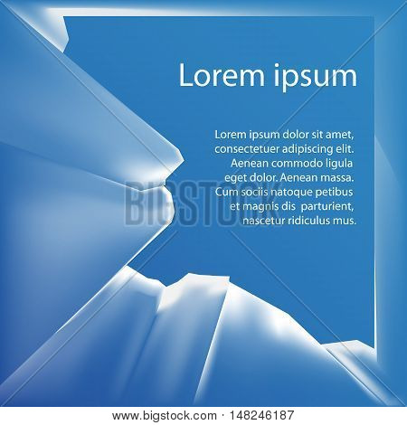 Vector illustration with a broken into fragments transparent glass and place for text. Element for presentations banners and your creativity