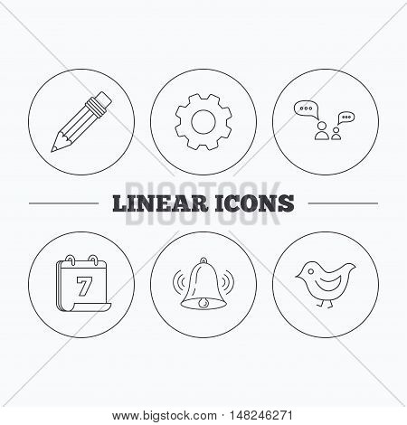 Dialogue, pencil and bird icons. Bell rings linear sign. Flat cogwheel and calendar symbols. Linear icons in circle buttons. Vector