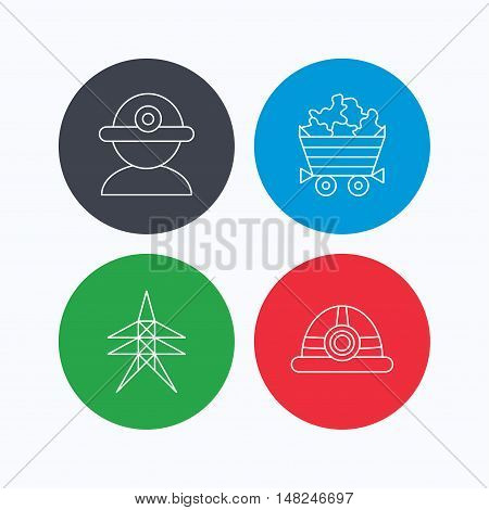Worker, minerals and engineering helm icons. Electricity station linear sign. Linear icons on colored buttons. Flat web symbols. Vector