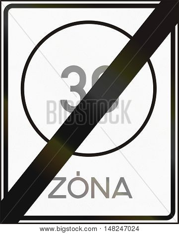 Road Sign Used In Hungary - End Of Maximum Speed Limit Zone
