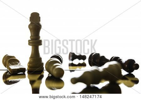 Chess pieces of King standing on a chessboard.Soft focus