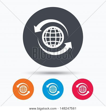 Globe icon. World or internet symbol. Colored circle buttons with flat web icon. Vector