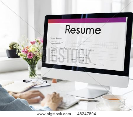 Resume Apply Work Form Concept