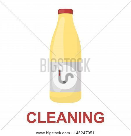 Chemical means for pipe cleaning icon cartoon. Single silhouette plumbing symbol.