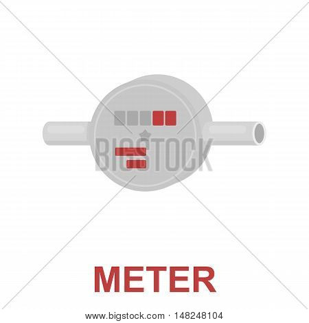 Water meter icon cartoon. One icon of a large plumbing cartoon.