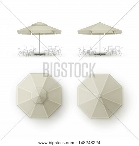 Vector Set of White Beige Blank Patio Outdoor  Market Beach Cafe Bar Pub Restaurant Round Umbrella Parasol  for Branding Top Side View Mock up Close up Isolated on Background.