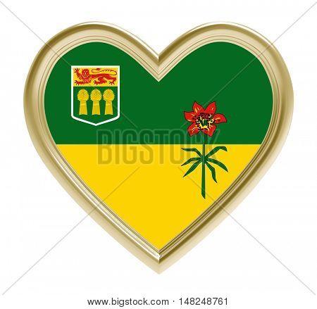 Saskatchewan flag in golden heart isolated on white background. 3D illustration.