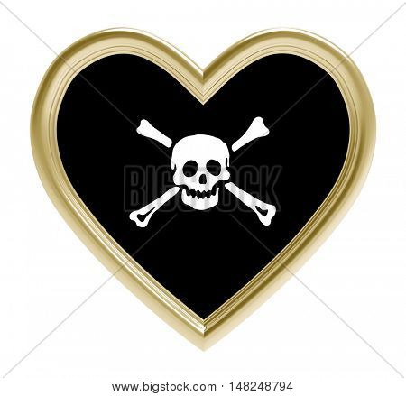 Pirate flag in golden heart isolated on white background. 3D illustration.