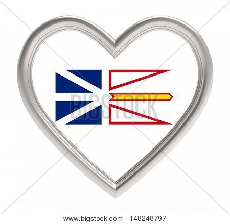 Newfoundland and Labrador flag in silver heart isolated on white background. 3D illustration.