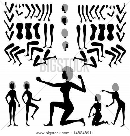 Constructor to create a variety of poses. Silhouette young fit sexy girl. Flat vector customizable doll with separate joints.