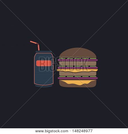 fast food Color vector icon on dark background