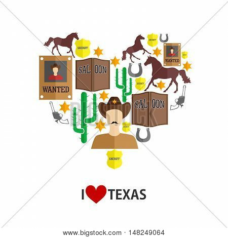 set of icons in the style of a flat design on the theme of cowboys.