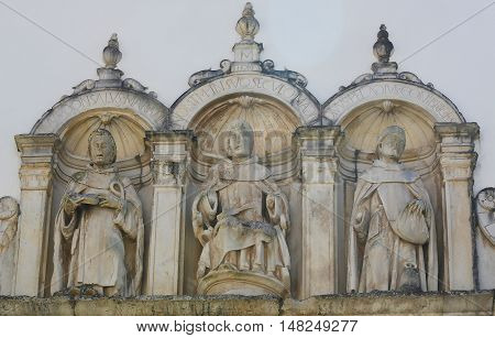 COIMBRA PORTUGAL - AUGUST 1 2016: Sculptures at Machado de Castro National Museum in the historic center of Coimbra Portugal