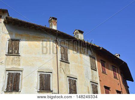 Historic old buildings in the small Italian town of Valvasone in Friuli Venezia Giulia.