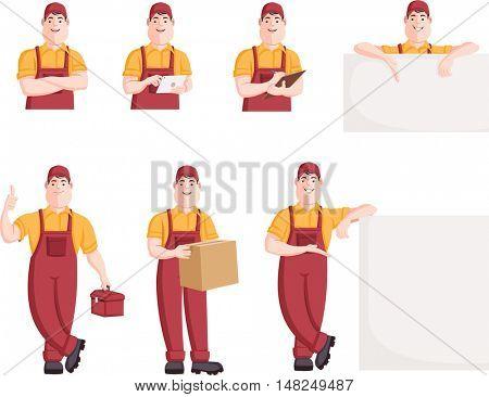 Worker character in different actions. Cartoon repairman.