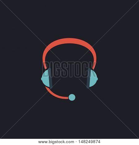 Headphone Color vector icon on dark background