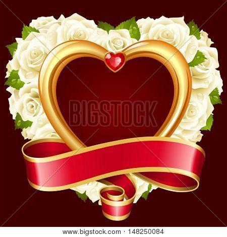 Vector rose frame in the shape of heart. White flowers, ribbon, golden border and red diamond
