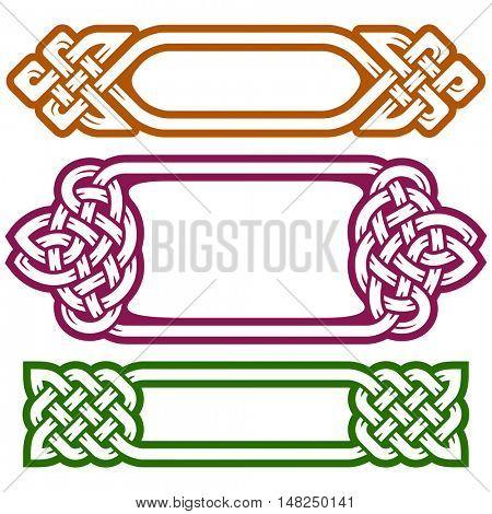 Vector celtic frame set isolated on white background