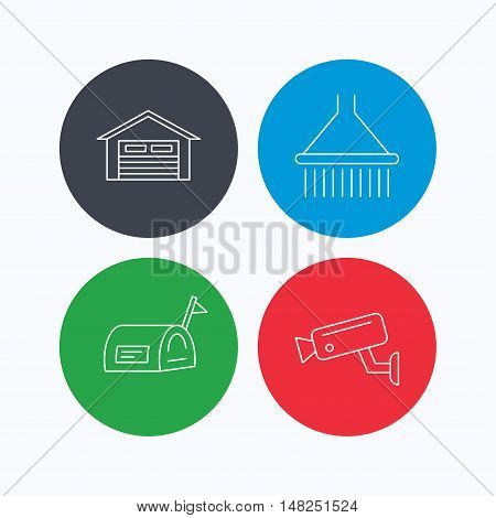Mailbox, video monitoring and garage icons. Shower linear sign. Linear icons on colored buttons. Flat web symbols. Vector