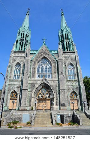 MONTREAL QUEBEC CANADA 09 15 2016: Saint-Edouard Church is a Roman Catholic church in Montreal, Quebec, Canada. It is dedicated to Edward the Confessor, the King of England from 1047 until 1066.