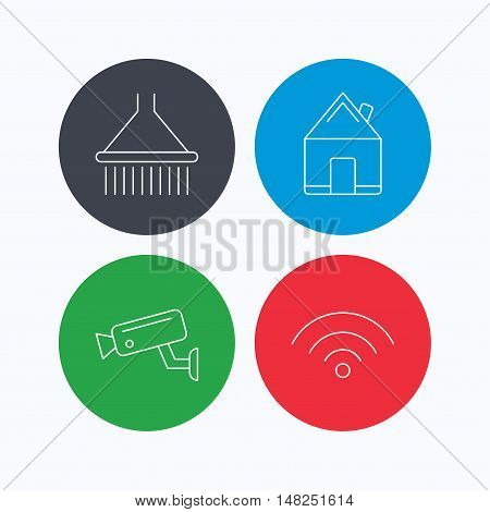 Wi-fi, video monitoring and real estate icons. Shower linear sign. Linear icons on colored buttons. Flat web symbols. Vector