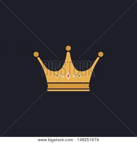 Crown Color vector icon on dark background