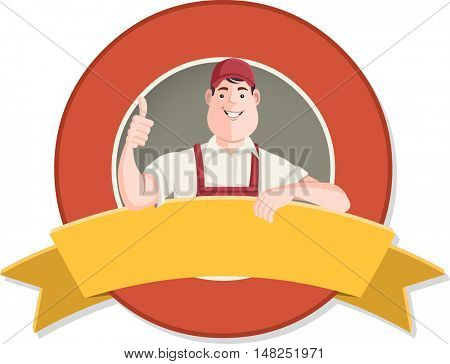 Vector banners and labels backgrounds with cartoon worker character in different actions. Design text ribbons.