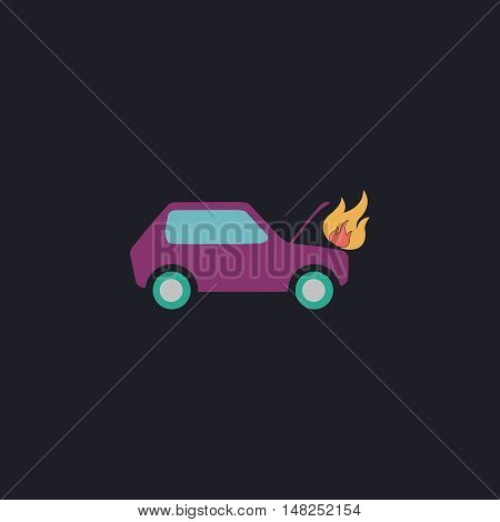 Car fired Color vector icon on dark background
