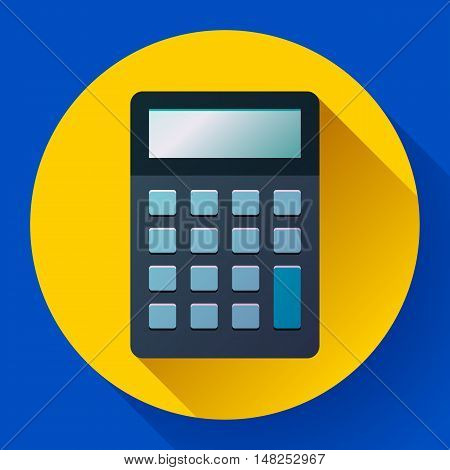 Calculator icon flat style isolated on colored background. Vector electronic calculation.