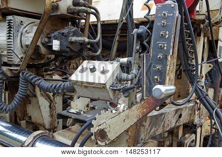 Asphalt street paving machine mechanical view of components